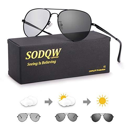 SODQW gafas de sol fotocromaticas polarizadas hombre 100% UVA/UVB Protección (Gafas polarizadas fotocromáticas con marco negro)