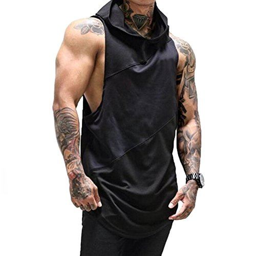 ZUEVI Men's Muscle Sleeveless Hoodies Gym Bodybuilding Stringer Tank Tops(Black&-M)