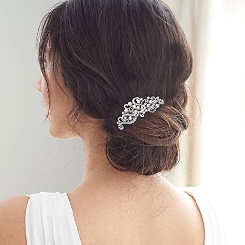 Runmi Peines para el pelo de novia, de plata, accesorios para el pelo de novia, accesorio para el pelo de flores para mujeres y niñas
