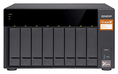 QNAP TS-832X-2G High-Performance 8-Bay 64-bit NAS with Built-in 2 x 10GbE (SFP+) Network, Hardware Encryption, Quad Core 1.7GHz, 2GB RAM, 2 x 1GbE