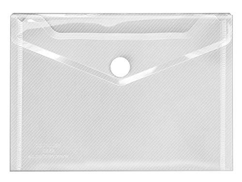Veloflex 4560100 Dokumententasche, DIN A6, PP, Streifenoptik, Sammelmappe mit Klettverschluss, transparent farblos, 1 Stück