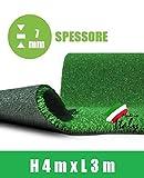 ITALFROM Prato Sintetico 7 mm Finta Erba Tappeto Manto Giardino Calpestabile (4x3m)