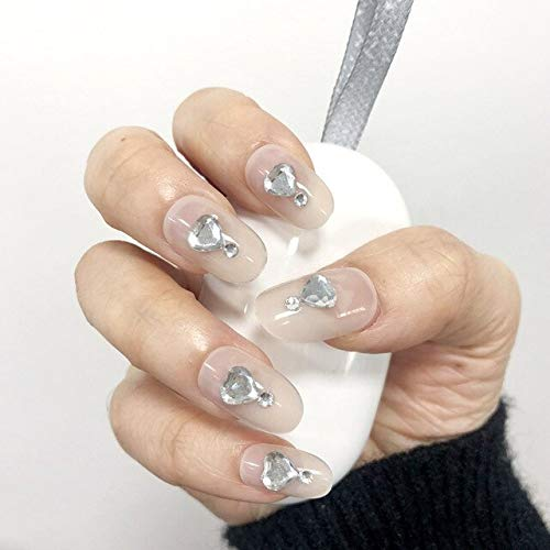 Rpbll 24pcs/box with 2g glue Women transparent Fake Nails Bridal Wedding Beauty Nail Art Tips Ladies Glitter 3D Rhinestone False Nails as show