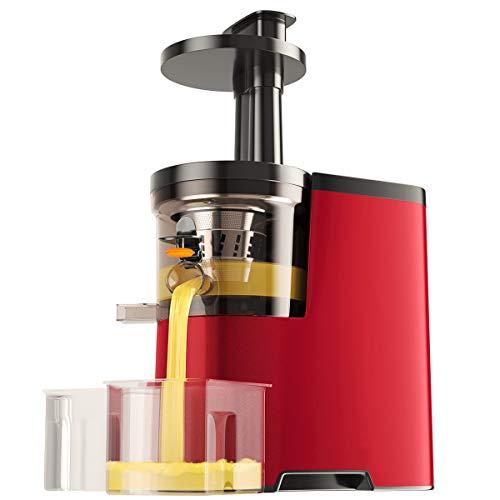 RELAX4LIFE Entsafter große Einfüllöffnung, Slow Juicer 150 W, Gehäuse aus Edelstahl, ideal für Gemüse und Obst, inkl. Reinigungsbürste und Saftbehälter, Elektrische Saftpresse mit Umkehrfunktion, Rot