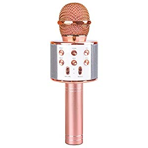 Microphone Gift Age 5-12 Girls Kids, Wireless Karaoke Microphone Toy for 6-11 Year Old Girl Children Singing Microphone Machine Gifts for 6-11 Year Old Girl Teens Birthday Gift for Girl Rose Gold MIC