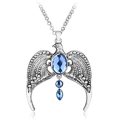 Hong TTH - Hogwarts Ravenclaw Vintage Antique Silvery Horcrux Eagle Crown Diadem Pendant Necklace Charm Gift for Women Fans Movie Jewelry