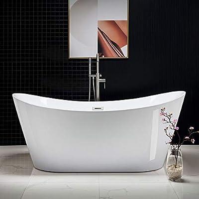 "WOODBRIDGE B-0017-B/N-Drain &O Acrylic Freestanding Contemporary Soaking Tub with Brushed Nickel Overflow and Drain BTA1517B/N,White, Bathtub 71"""