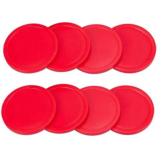 Yeelan Air Hockey Pucks Spieltisch Paddel Ausrüstung Ersatz Set Spielen Geschenk für Zuhause Indoor Outdoor Kinder & Erwachsene Geburtstagsfeier Aktivität (8 STÜCKE, 75mm / 2,9in, Große Größe, Rot)