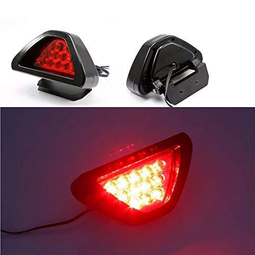 Jackallo LED-Anhängerleuchten, F1-Stil DRL Rot 12 LED Heckanschlag Nebel Dreieckige Bremsleuchte Anschlag Sicherheitslampe Automotor