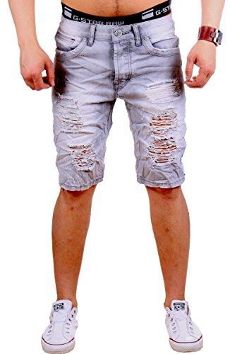 Justing Herren Jeans Bermuda ST-7003 (30, Grau)