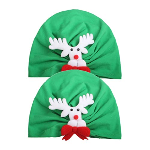 Amosfun 2pcs Baby Santa Hats Funny Party Hat Elk Reindeer Headdress Christmas Costume Accessories for Newborn Infant Toddler Kids (Green)
