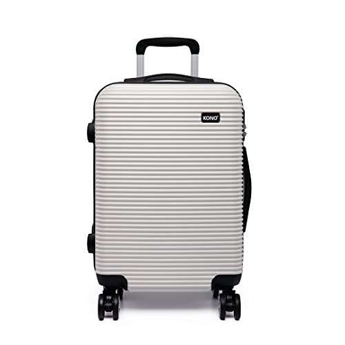 Kono Hard Shell Suitcase 4 Spinner Wheels Lightweight PC Luggage for Holiday Travel Trolley Case (Medium 24', White),K6676L WE 24