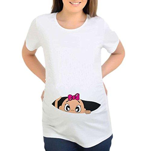 STRIR Blusa Embarazada para Premamá,Camiseta de Maternidad Divertido Estampada de Manga Corta Premamá para Mujer Embarazo Lactancia T-Shirt (XL, Blanco)