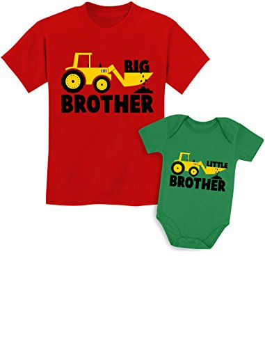 Big Brother Little Brother Shirts Gift for Tractor Loving Boys Siblings Set Baby Green/Kids Red Baby Newborn/Kids 2T
