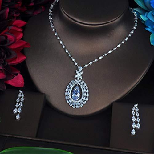 Florwesr Diseño Más Reciente Diseño Claro Y Verde Drop Cubic Zirconia Pendiente Set Full Jewelry Sets Mujeres Vestido Accesorios (Color : Platinum Plated)
