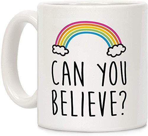 ¿Puedes creer? Queer Eye Rainbow - Taza de café (cerámica, 11 onzas), color blanco