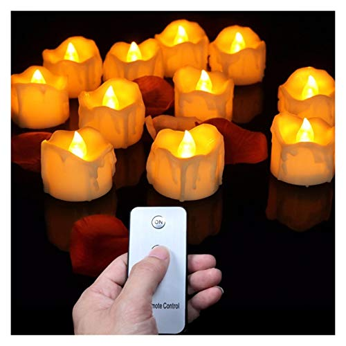 Candle Lights Pack of 12 Candles Lights LED Flameless Candles Light Smooth Flickering Candle Light Battery Operated for Home Wedding Decor (Color : B Warm White Remote)