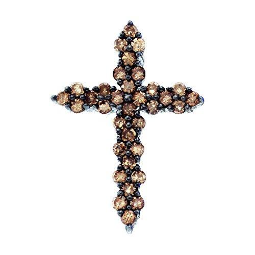 Brandy Diamond Chocolate Brown 10k White Gold Cross Necklace Pendant 1/2 Ctw.