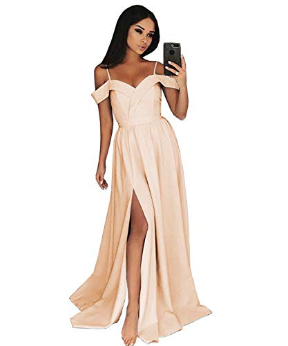 Yilis Women's Off The Shoulder A-line Slit Satin Formal Evening Gown Long Prom Party Dress for Wedding Size 16 Rose Gold