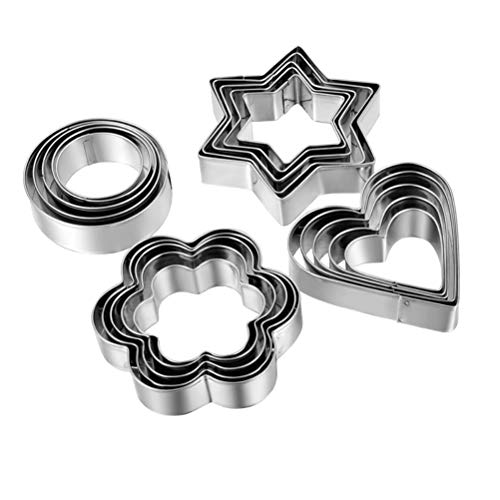 Biscuit Cutter Cookie Cutter Mini 12 Pieces Small Stainless Steel Geometric Biscuit Cutters Set DIY Tools for Motif Cakes Cake Decorations Biscuits Baking Kitchen Christmas