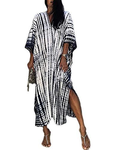 Orshoy Damen Strandkleid Strandtunika Kaftan Boho Kleid Lang Strandponcho Bikini Sommerkleid Badekleid Badeanzug Sommer Maxikleid Beachwear Boho Bademode Freie Größe
