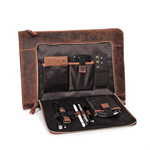 DONBOLSO® Notebook Sleeve London braun - 13,3 Zoll DIN A4 Laptop & Netbook Aktentasche aus Leder für Herren & Damen