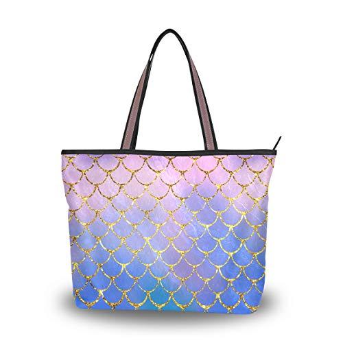 HMZXZ RXYY Ozean Meerjungfrau Fish Waage Handtaschen und Geldbörse für Frau Tote Tasche groß Kapazität obenGriff Käufer Schulter Tasche