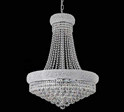 BEIRIO 13-Lights Chrome Finish Classic Empire Style K9 Crystal Chandelier Ceiling Light for Living Room Foyer Dining Room Hallway Bedroom (24×31.5 inch) New Packaging Easy To Install