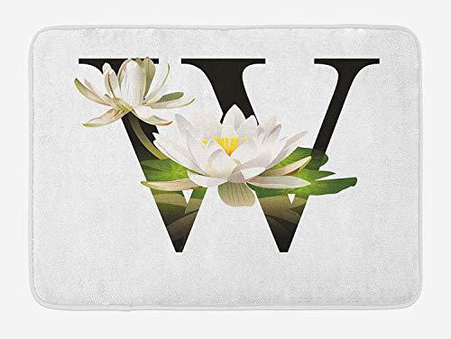 Klotr Felpudos, Letter W Bath Mat, Water Lily Flower Arrangement Nature Inspired Alphabet Design Floral Print, Plush Bathroom Decor Mat with Non Slip Backing, 40X60 CM, White Green Black
