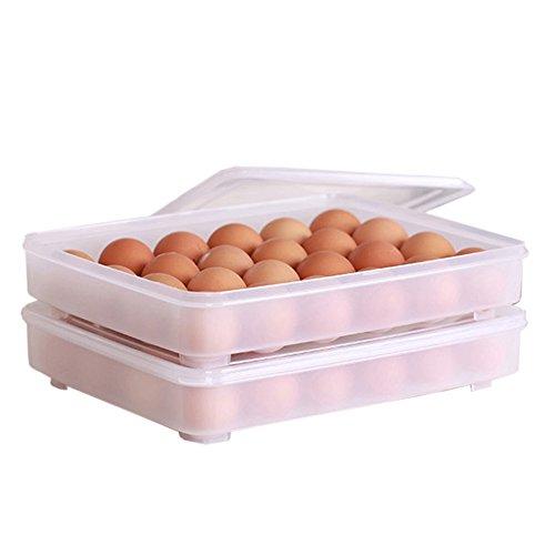 gardenhelper 2pcs 24plástico huevos dispensador Holder Container organizador de frigorífico gran capacidad soporte de bandeja de huevos con tapa