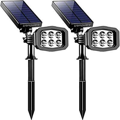 URPOWER Solar Lights Outdoor, Upgraded 6 LED 2-in-1 Waterproof Solar Spotlights 2 Modes Auto On/Off Wireless Wall Lights Pathway Lights Landscape Lighting for Garden Yard Pool Patio Cold White(2 Pack)