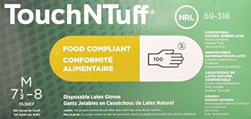 Ansell TouchNTuff 69-318 Naturgummilatex Handschuhe, Chemikalien- und Flüssigkeitsschutz, Naturfarben, Größe 8 (100 Handschuhe pro Spender)
