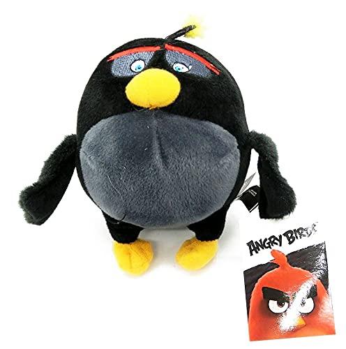 Rovio Angry Birds Bomb - Peluche de Angry Birds (con colgante, clip, 14 cm aprox., para mochila, mochila escolar)