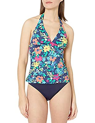 Nautica Women's Shirred Front V Neck Halter Tankini Top Swimsuit, Deep Sea Floral, Large