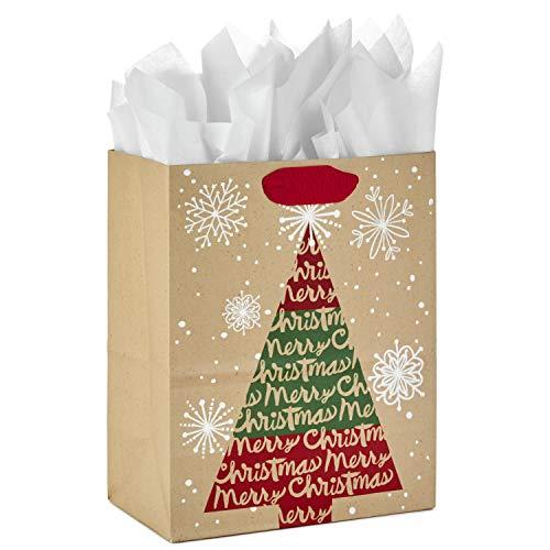 Hallmark 9' Medium Christmas Gift Bag with Tissue Paper (Kraft Christmas Tree)