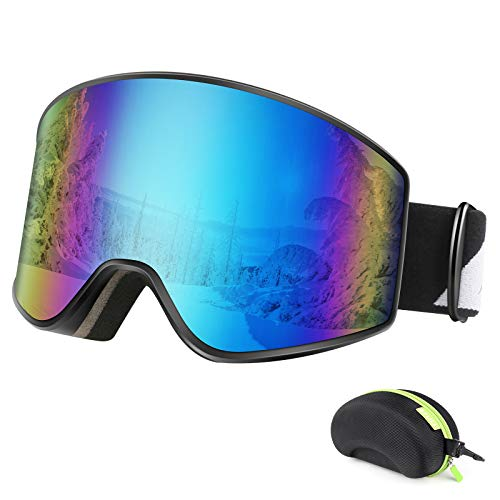 BFULL Ski Goggles, Anti-fog and UV400 Protection OTG Snow Goggles with Lock...