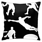 Generic Brands Playing Ultimate Frisbee Silhouettes Import Square Pillow Covers Throw Pillow Covers for Couch Bed Sofa Car Soft (18 X 18 Inch)