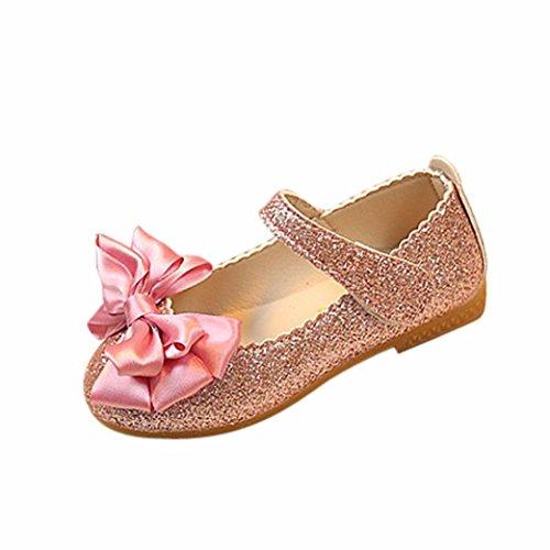 FNKDOR Mädchen Sandalen Prinzessin Flache Tanzschuhe Mary Jane Ballerinas Kinder Schuhe(20 EU(21CN) 13CM,Rosa)