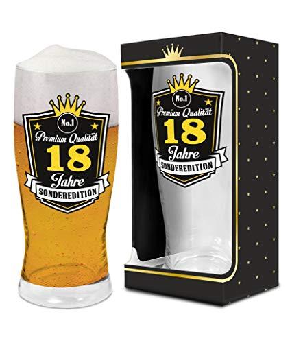 Abc Casa Bierglas 0,5l zum 18. Geburtstag für Jungen, Mann, Freund Biertrinker – Aufschrift Premium Qualität, 18 Jahre, Sonderedition – originell verwendbares Geschenk für 18-Jährige im Geschenkbox
