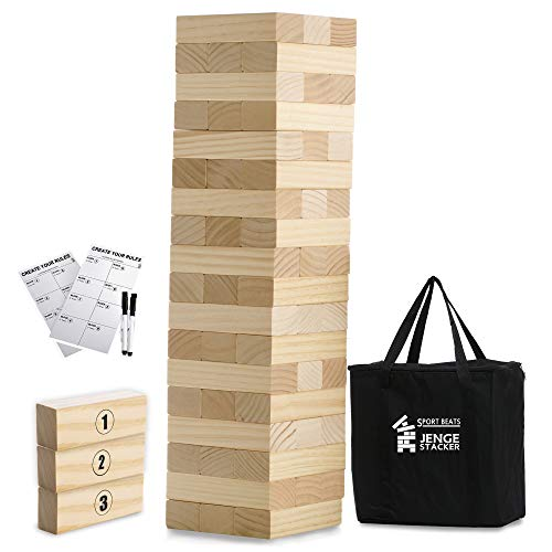 Large Jenge Stacker Tumble Tower Game Wooden Stacking Games Lawn Outdoor Games for Adults and Family - Includes Rules and Carry Bag-54 Medium Blocks