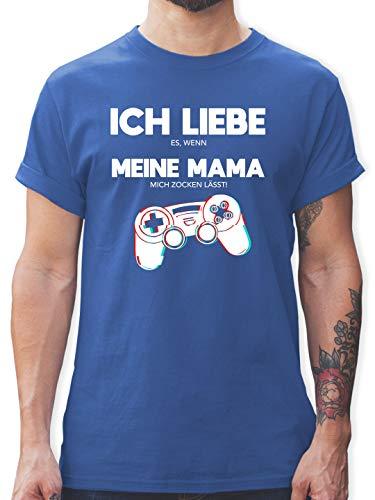 Nerds & Geeks - Ich Liebe es, wenn Meine Mama Mich zocken lässt - Controller Glitch - M - Royalblau - Geschenk zocker - L190 - Tshirt Herren und Männer T-Shirts