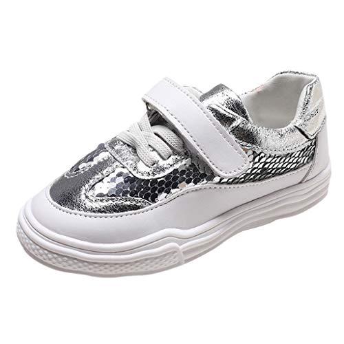 Zapatillas Deportivas Unisex Zapatos Deporte Lentejuelas para Niños Niñas Riou Antideslizante del Zapato de Lona Cómoda Suave Correr Trail Fitness Sneakers Ligero Transpirable