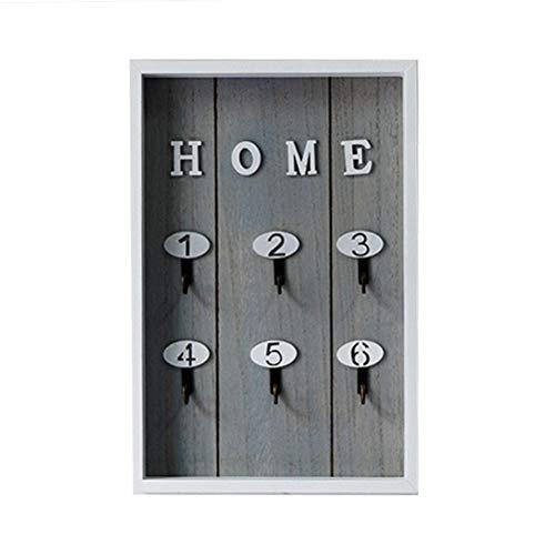 Vosarea - Caja de madera para llaves de pared con 6 ganchos para colgar llaves, organizador de joyas (gris)