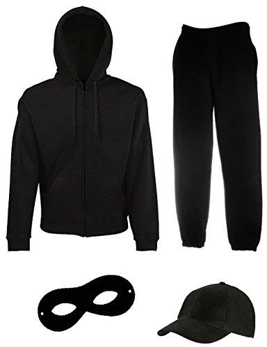 Cool Fun-T-shirts inbreekset kostuum voor carnaval - carnaval mutsen, masker, broek joggingpak. 4-delig bekleding in maat S, M, L, XL, 2XL, 3XL, 4XL, 5 XL.