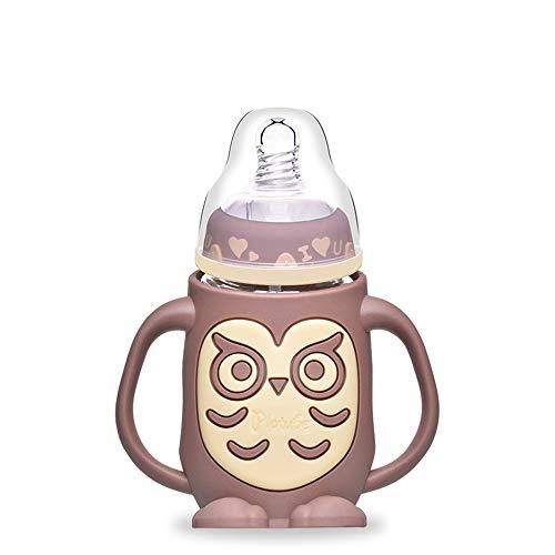 SPAWX Babyflasche Silikonhülle Anti-Verbrühung Auslaufsicheres Design Muttermilchflasche Kinder-Wasserbecher Geeignet für Kinder 240ml,Brown