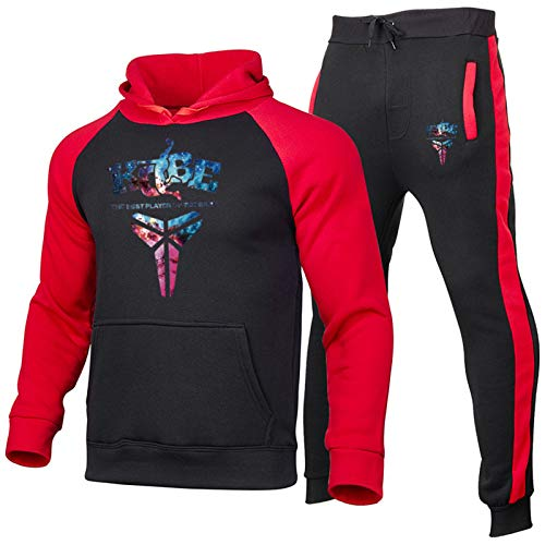 XIKONG Kobe Bryant # 24 Hombre con Capucha Sudadera De Baloncesto Sudadera, Hombre De Manga Larga Sudadera Sportswear Traje Baloncesto Uniforme Joggers Pantalones Red-S