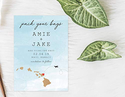 Destination Save the Date, Hawaii Save the Date, Pack Your Bags Save the Date, Mexico Wedding