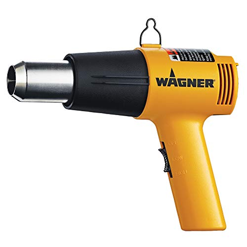 Wagner Spraytech 0503008 HT1000 Heat Gun, 2 Temp Settings 750ᵒF & 1000ᵒF, soften paint, caulking, adhesive, putty for removal, shrink wrap, bend plastic pipes, and loosen rusted nuts or bolts