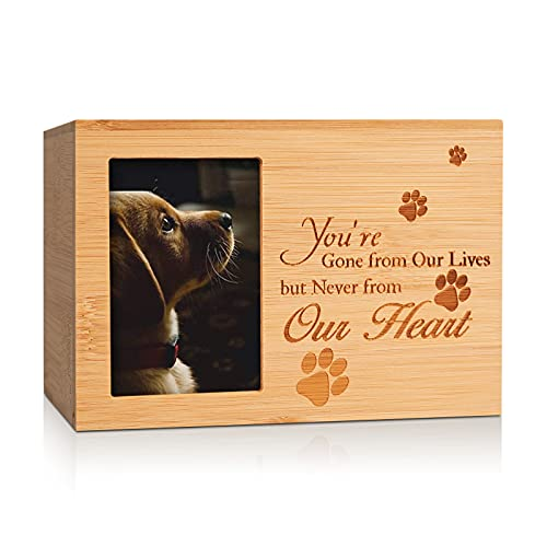 ENBOVE Cremation Urns for Ashes,Burly Wood Keepsake Urns for Dogs Ashes,Pet Memorial Keepsake Urns,Wood Urn,Photo Box Pet Cremation Urn