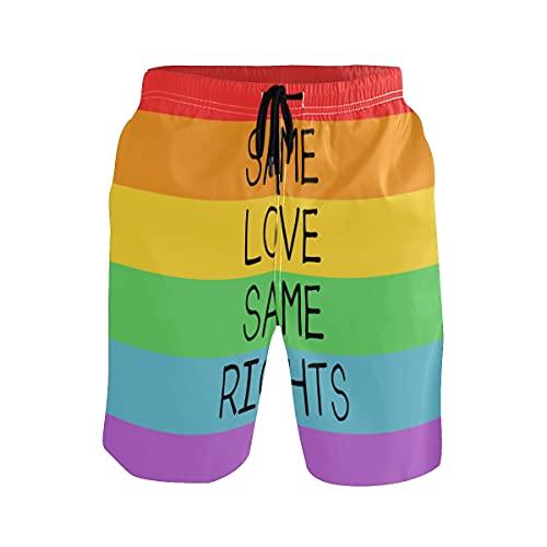 TropicalLife Rainbow LGBT Pride Summer Beach Shorts, mismos derechos de amor, multicolor, XL